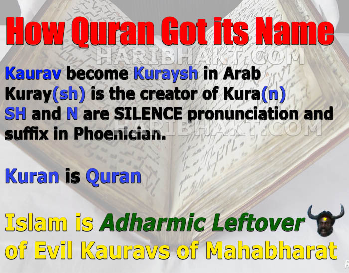 How Quran was written its name origin is Kaurav clan of Mahabharat
