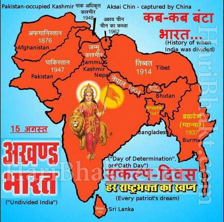 Divisions of India done by british & congress