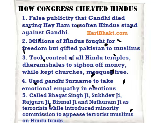 anti Hindu congress govt and congress supporters