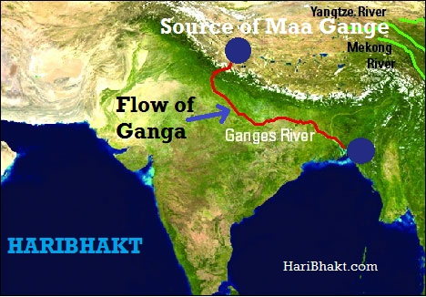 Ganga Emerges from Jata of Bhagwan Shiv at Himalayas