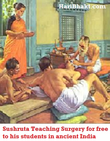 Sushruta Samhita Father, Inventor of Surgery : Sushruta teaching ancient plastic surgery to his students