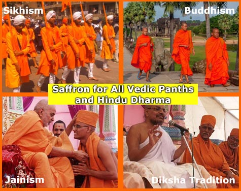 Saffron Bhagwa adopted by Sikhism Jainism Buddhism from Hinduism