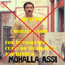 boycott and ban mohalla assi for insulting Hindu gods and Hinduism