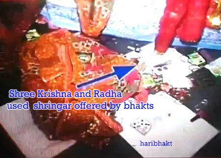 Shree Krishna Radha accept offers of Bhakts in Rang Mahal