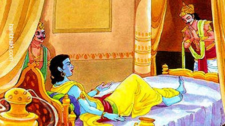 Hidden facts about Mahabharata: Arjun Sitting at feet of Shree Krishna while Duryodhana nearby Shree Krishna's head