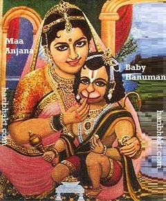 Mother Anjana with Baby Hanuman