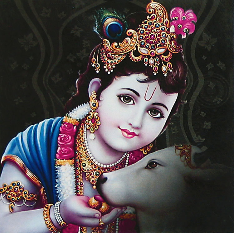 Bal Krishna with Gau Mata