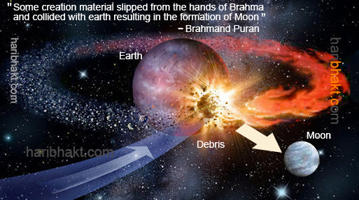 Creation of Moon mentioned in Vedic Hindu texts, the same explanation used by modern scientists