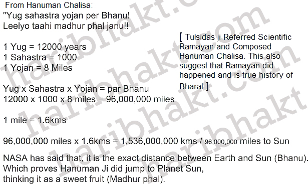 Distance of Sun accurately described in Hanuman Chalisa Written from Incidents of Ramayan