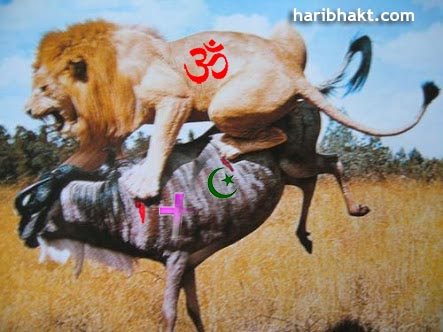 Hindu lion killing anti-Hindu and enemies
