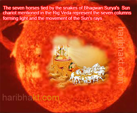Sun light is built of Seven Columns of light as per Hindu texts