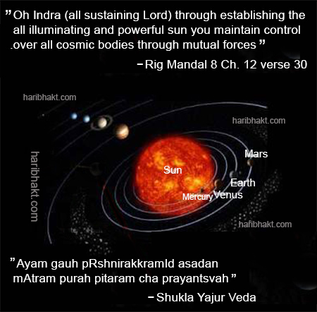 As per Vedas, Gravitational forces and external energy influence balances of Solar System
