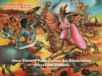 Vedic Goddess Maa Durga Fighting Asura Demon
