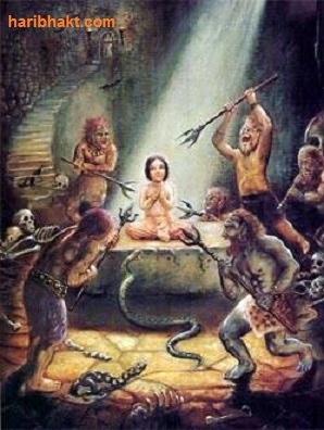 Demons of Hiranyakashipu attacking Vishnubhakt Prahlad