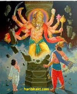 Narasimha Avatar : Narasimha emerging from the pillar