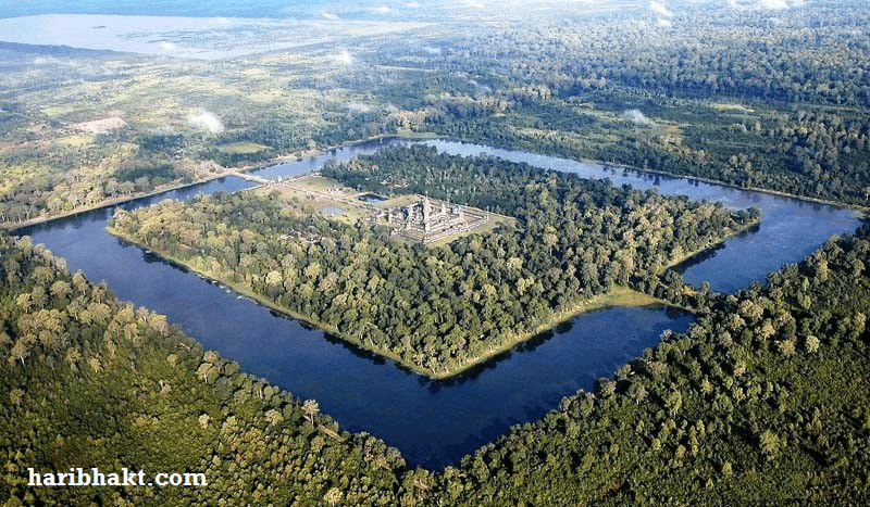 angkor wat aerial view map