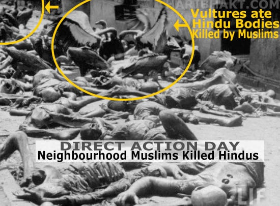 Gopal Patha and Direction action day: vultures ate Hindu dead bodies killed by muslims